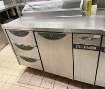 1 x WILLIAMS Commercial 1-Door, 3-Drawer Chiller Unit In Stainless Steel With Salad Topper