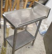 1 x Stainless Steel Commercial Kitchen Narrow Prep Bench With Undershelf And Upstand - Dimensions: