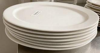 7 x VILLEROY & BOCH Premium Porcelain Large Fine Dining Restaurant Oval Plates - 31.5cm Long -