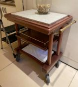 1 x Restaurant Wooden Servery Trolley With Granite Top - Dimensions: 80 x 50 x H82cm - Ref: CAM529 -