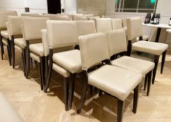 22 x Cream Leather Upholstered Restaurant Dining Chairs With Sturdy Wooden Frames - Ref: CAM527/B