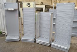 4 x Retail Slatwall Shelving Units - Dimensions (on average): H170 x W60 x D36cm - Very Recently