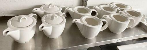 9 x VILLEROY & BOCH Premium Porcelain Fine Dining Restaurant Teapots (3 x With Lids) - Ref: CAM689 -