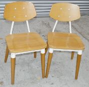 7 x Contemporary Commercial Dining Chairs With A Sturdy Wood And Metal Construction - Dimensions: