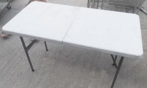 2 x Fold-out Tables With Handle - Dimensions: H76 x W124 x D62cm - Pre-owned, Taken From An Asian Fu