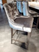 4 x Button Back Barstools Upholstered In A Rich Silver Grey Velvet Fabric - NO VAT ON THE HAMMER