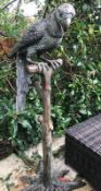 1 x Majestic Looking Lifelike Giant Bronze Oversized Parrot On Perch Garden Sculpture -