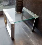 1 x Glass Topped Lamp Table With A Chromed Base - Dimensions: 45 x 45 x H34cm - Preowned - NO VAT