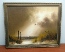 1 x Original Signed Painting Of A Coastal Scene By W. Brian - Dimensions: 57 x 47cm - Ref: MD167 /