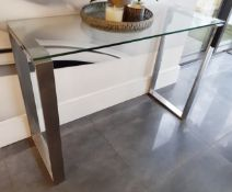 1 x Glass Topped Console Table With A Sturdy Metal Frame - Dimensions: 110 x 40 x H74cm