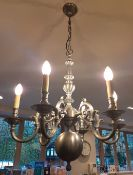 1 x Ornate 6-Arm Chandelier With An Antique Bronze Finish - NO VAT ON THE HAMMER - Preowned -