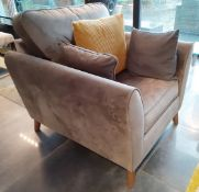 1 x Large Armchair Richly Upholstered In A Light Grey Velvet Fabric