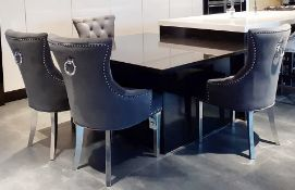 6 x Button Back Dining Chairs Upholstered In A Rich Grey Velvet Fabric - NO VAT ON THE HAMMER