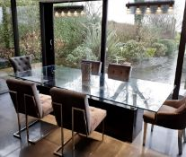 1 x Glass Topped 2.7 Metre Long Designer Dining Table + 2 x Light Fittings - NO VAT ON THE HAMMER
