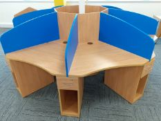 1 x 8-Desk Office Workstation Pod With Privacy Partitions In A Beech Finish - Original RRP £2,525