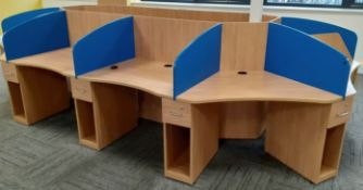 1 x 10-Desk Office Workstation Pod With Privacy Partitions In A Beech Finish - Original RRP £3,987