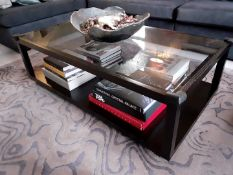 1 x Glass Topped Coffee Table - Dimensions: 130 x 70 x H41cm - Pre-owned - CL602 - *NO VAT ON