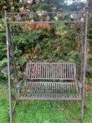 1 x Ornate Iron Garden 'Love' Swing - A Beautiful Garden Feature - Dimensions: width 190cm x