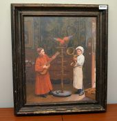 1 x Ornately Framed Canvas Print Depicting Boys With A Parrot - Dimensions: 60 x 70cm - Ref: MD160 /