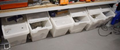 6 x Storage Boxes With Lids and Contents Contents Include Single and Twin PVC Mini Trunking
