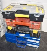5 x Assorted Tool Boxes With Dividers and Contents Includes Tools, Nuts, Screws, Bolts