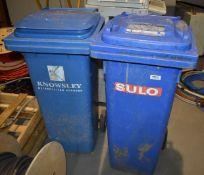 2 x Blue Wheelie Waste Bins SRB171