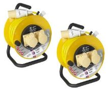 2 x Thorsman JoJo 110v Double Socket Extension Reels 25 Meter / 16 Amp Extension Brand New