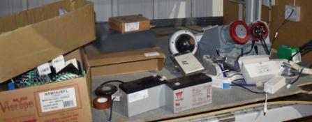 1 x Assorted Job Lot 12v Batteries, 3 Ph Plug Sockets, Light Bulbs, PIR Detector, Smoke Vent Button