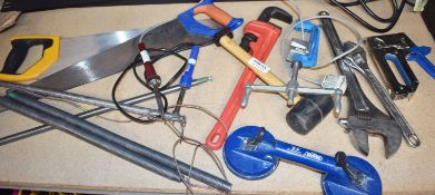 Approx 13 x Various Tools Including Glass Sucker, Drain Rods, Saws, Clamps, Large Spanners & More