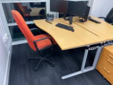 1 x Left Hand Beech Office Desk With Swivel Office Chair - Desk Width 140 cms - Ref: UPS - CL600 -