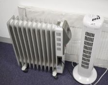 1 x Oil Filled Portable Radiator and 1 x Tower Fan With Timer SRB150