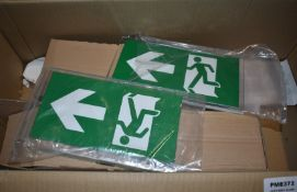 2 x Suspended Emergency Exit Illuminated LED Signs New Stock PME372