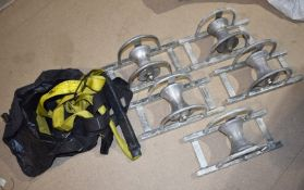 5 x Scaffolders Lifting Pulleys in Brackets and Scaffolders Safety Harness PME391