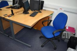 1 x Right Hand Beech Office Desk With Swivel Office Chair and Drawer Pedestal Desk Width 140 cms