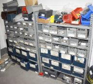 1 x Steel Linbin Storage Shelves With Bins and Contents Includes Various Items Such as Cleats