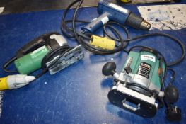 3 x Assorted Power Tools Including Black Spur Plinge Router, Steinel Heat Gun and Hitachi Jigsaw