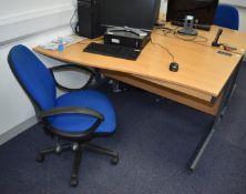 1 x Left Hand Beech Office Desk With Swivel Office Chair Desk Width 140 cms SRB145