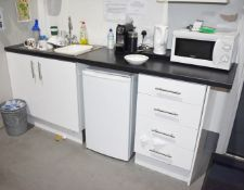 1 x Gloss White Kitchen Area Featureing Two Door Unit, Four Drawer Unit, Wall Unit, Worktop and Sink