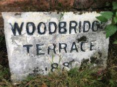 1 x Reclamation aged Stone Slab 'Woodbridge Terrace 1880' - Ref: JB185 - Pre-Owned - NO VAT ON THE