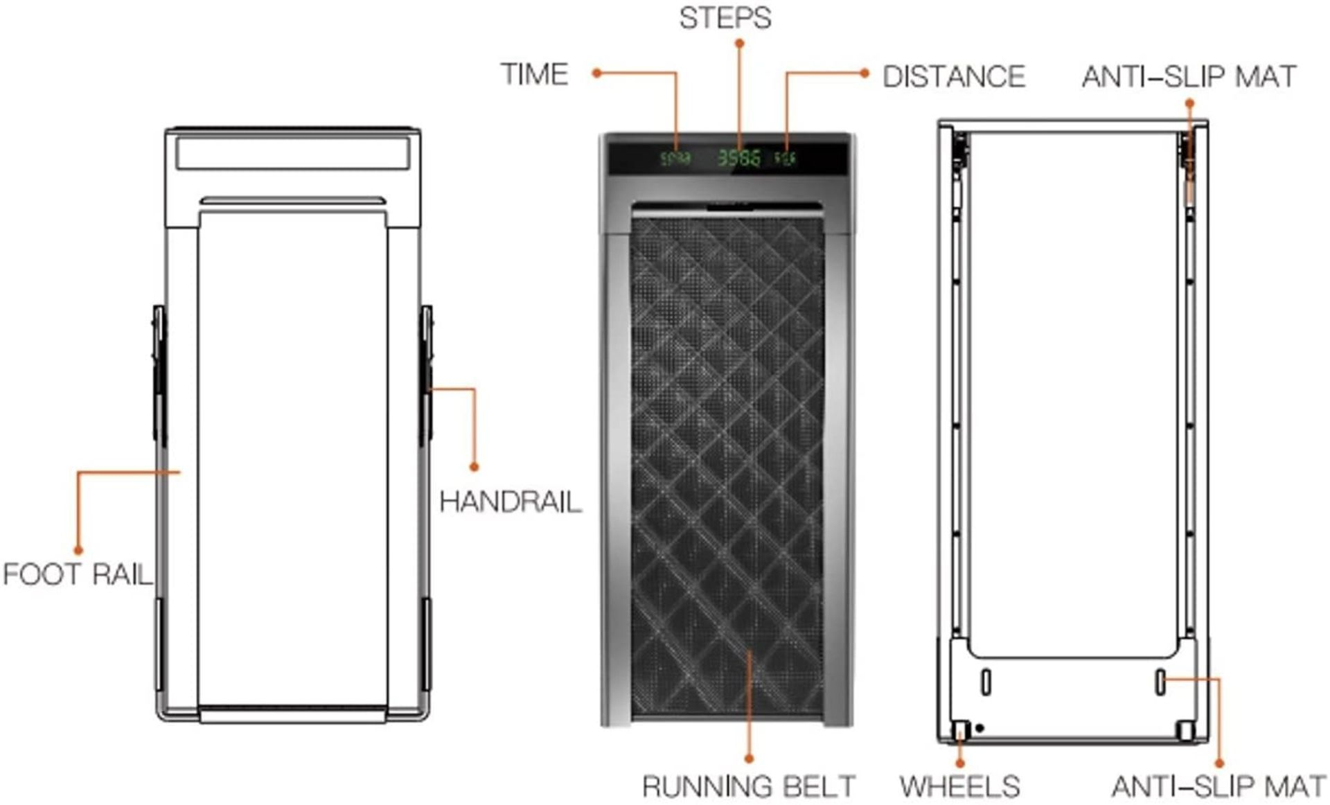 1 x Slim Tread Ultra Thin Smart Treadmill Running / Walking Machine - Lightweight With Folding - Image 12 of 23