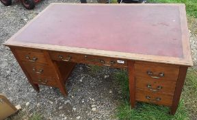 1 x Large Original Writing Desk With Leather Top Pad And Deep Drawers With Original Castors Under