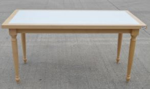 1 x Large Rectangular Event Table In Beech - Features Attractive Turned Legs And A White Inlay