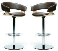 4 x Original Allermuir 'Mollie' Designer Swivel Bar Stools - Features Brown Leather Upholstery, Wood