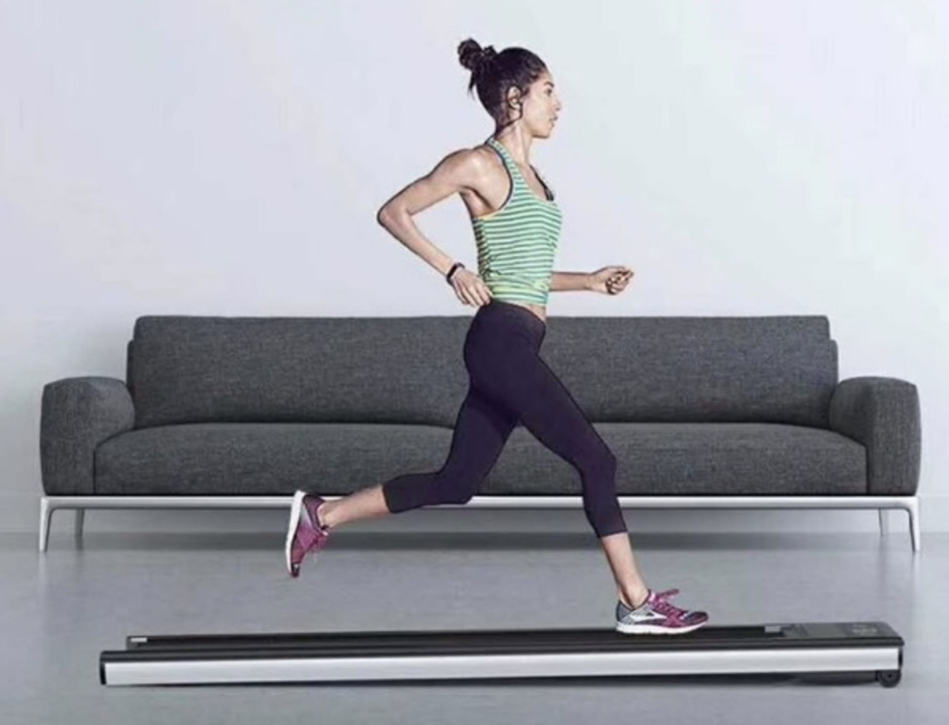 1 x Slim Tread Ultra Thin Smart Treadmill Running / Walking Machine - Lightweight With Folding - Image 4 of 23