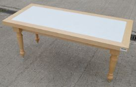 2 x Low Rectangular Event Tables In Beech - Both Feature Attractive Turned Legs And A White