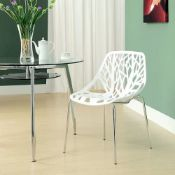 4 x LILY Nature-Inspired Tree of Life Dining Chairs - Features a White Moulded Plastic Seat With