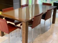 1 x Dining Table And 6 x Red Leather Chairs - Dimensions: 210 x 100cm x H73cm - NO VAT ON THE HAMMER
