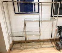 1 x Modern Chrome And Glass Display Unit - Dimensions: Width 159cm x Depth 38cm x Height 159cm -