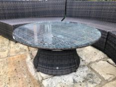 1 x Kensington Wicker/Rattan Round Glass Topped Lounge Table - Ref: JB169 - Pre-Owned - NO VAT ON