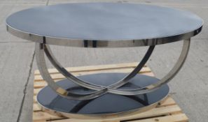 1 x Stunning 1.5 Metre Metal Oval Table With A Granite Style Surface And Sculptural Cross Base